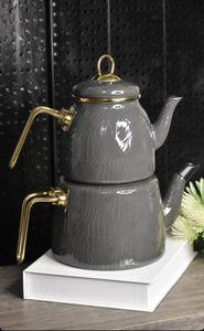 Acar Hüma, Teekanne aus Emaille, Grau, Induktion geeignet, Türkische Teekanne, Teekocher, Türkische Teekanne Set-Caydanlik