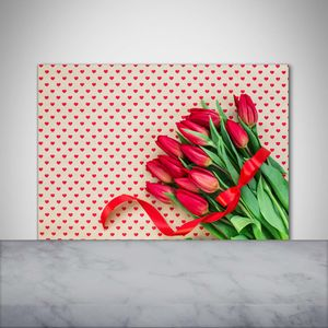 Tulup® Küchenrückwand Spritzschutz aus Glas -100x70 -Spritzschutz auf gehärtetes GlasDeko Blumen & Pflanzen Tulpen Herzen