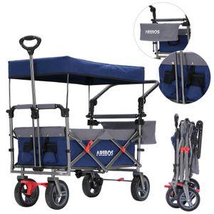 AREBOS Premium Bollerwagen mit Dach Klappbar Faltbar Handwagen Gartenwagen Blau