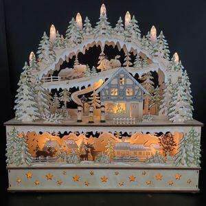Großer Schwibbogen in 3D Optik mit LED Beleuchtung & Timerfunktion - Winterlandschaft, Winterstimmung, Lichterbogen