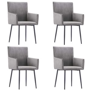 vidaXL Esszimmerstühle mit Armlehnen 4 Stk. Grau Samt