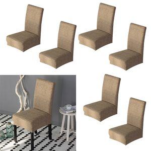 Packung Mit 6 Khaki Esszimmerstuhlbezügen Für Den Sessel Abnehmbarer Waschbarer Elastischer Parsons Sitzkoffer