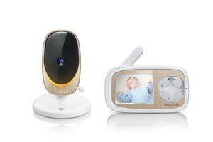 Motorola Comfort40 Connect, Video-Babyphone mit Schwenk-& Zoomfunktion, Baby Monitor mit 2.8 Zoll Display, Wireless Digital HD Video mit Wi-Fi, Infrarot-Nachtsicht und Stimmungslicht, 300 m Reichweite