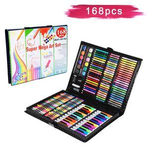 LZQ 168 tlg Malset für Kinder Buntstifte Zeichenset inkl Wachsmalstifte, Wasserfarben, Pastelle, Radierer, Ölpastell usw.