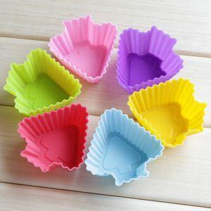 24 stücke Silikon Cupcake Formen Reusable DIY Cupcake Liner Nicht-stick Backen Tassen für Muffin Schokolade Seife (Stern + herz + Rose + Baum,