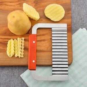 Kartoffelchip Gemüse Crinkle Wavy Cutter Tool Braten Pommes Frites Hand Chipper Tool HQJ90227571