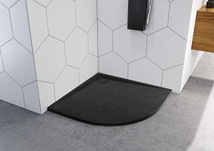Duschtasse Duschwanne 90x90x3 R55 Schwarz  Viertelkreis Stein-Effekt