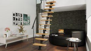 Holzti Mini Plus moderne modulare Treppe mit Metallstruktur und Massivholzstufen, 222-300cm (Naturalbelassen Erle)