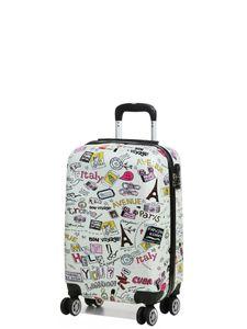 Print Trolley bags Bowatex Motiv Reise Koffer Handgepäck Welt Städte Weiß M 57cm