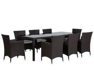 Gartenmöbel Set Braun 8-Sitzer 220 x 90 cm aus Polyrattan mit Auflagen Klassisches Design