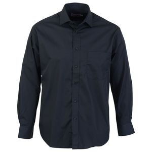 Absolute Apparel Herren Langarm Classic Poplin Shirt AB117 (L) (Schwarz)