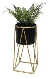 DanDiBo Blumenhocker mit Topf Metall Gold Schwarz S 47 cm Blumenständer 96046 Blumensäule Modern Pflanzenständer Pflanzenhocker