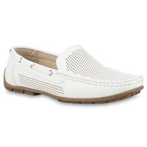 Mytrendshoe Herren Slippers Bootsschuhe Mokassins Cut Outs Schlupfschuhe Flats 821965, Farbe: Weiß, Größe: 41