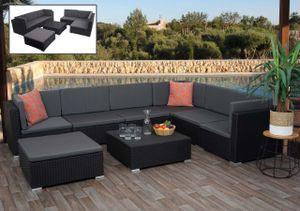 Poly-Rattan Garnitur HWC-G79, Balkon-/Garten-/Lounge-Set Gartenmöbelset Sitzgarnitur Sofa  schwarz, Kissen dunkelgrau