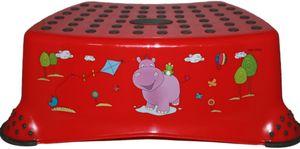 Keeeper Kinder Tritthocker Hocker 40x28x14cm einstufig Hippo Rot, Anti-Rutsch-Funktion