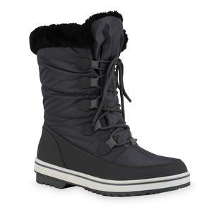 Giralin Damen Warm Gefütterte Winter Boots Stiefeletten Kunstfell Schuhe 836366, Farbe: Grau, Größe: 38