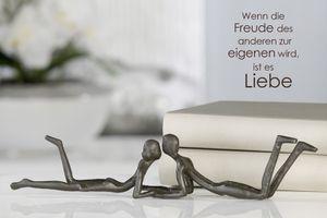 Casablanca Design Skulptur Loving Gußeisen brüniert 30 cm Figur Deko Liebe Paar
