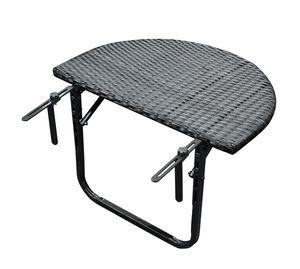 DEGAMO Balkonhängetisch Balkontisch Hängetisch 60x40cm, Gestell Metall + Polyrattan schwarz, klappbar
