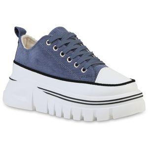 Giralin Damen Sneaker Keilabsatz Schnürer Stoff Profil-Sohle Schuhe 837634, Farbe: Dunkelblau, Größe: 37