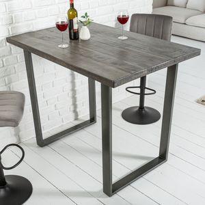 Massiver Bartisch IRON CRAFT grau 120cm Mangoholz Industrial Design Tresentisch Bistrotisch Küchentisch Stehtisch