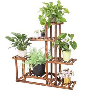 WISFOR Blumentreppe Holz mit 5 Ebenen,Blumenständer Mehrstöckig Pflanzenregal, 96x95x25cm