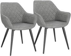 WOLTU Esszimmerstühle BH251gr-2 2er-Set Küchenstühle Wohnzimmerstuhl Polsterstuhl mit Armlehne Kunstleder Gestell aus Stahl Grau