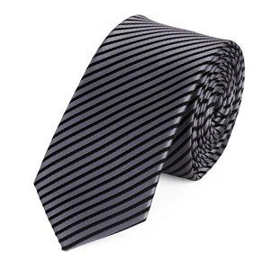 Schlips Krawatte Krawatten Binder 6cm silber grau schwarz gestreift Fabio Farini