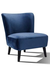 SalesFever Polstersessel im Retro Style | Stoffbezug in Samt | Beine Hevea Holz schwarz | Vollpolsterung | B 73 x T 77 x H 80 cm | blau