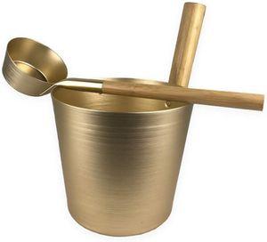 SudoreWell® Saunakübel Set champagner mit Saunakübel 5,0 l und Saunakelle mit Handgriff aus Bambusholz