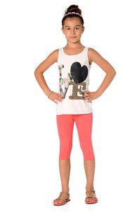 Kinder 3/4 Leggings in 22 Farben Baumwolle, Koralle 128