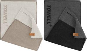 STRYVE Towell +   Sporthandtuch Fitnesshandtuch mit Tasche und Magnetclip, Bekannt aus Die Höhle der Löwen (2er Set Merino/Grau)