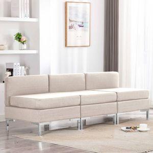 Modular-Mittelsofas 3 Stk. mit Auflagen Stoff Creme Wohnlandschaft-Sofa Relaxsofa für Wohnzimmer Schlafzimmer Esszimmer