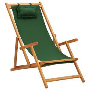 Klappbarer Strandstuhl Gartenliege Liegestuhl Eukalyptus Massivholz und Stoff Grün
