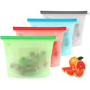 Silikonbeutel Wiederverwendbare, 4 Pack Stück BPA-Frei Wiederverwendbare Gefrierbeutel Sandwichbeutel Reißverschluss für Mittagessen,Gemüse,Fleisch,Beutel Vielseitige Konservierung Tasche
