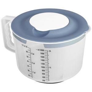 Messbecher mit 2tlg. Spritzschutzdeckel 2L Pastell Blau Mixbecher Rührschüssel BPA frei Teigschüssel Messskala Schüssel