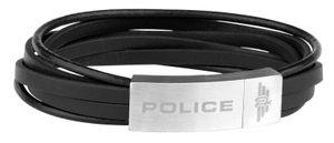 Police Lederarmband schwarz Edelstahl PJ26345BLSB.01-L
