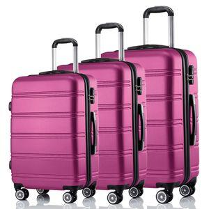 3-teiliges Premium Koffer Set/Reisegepäck-Set/Hartschalenkoffer Set (Pink)