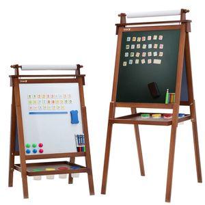 Dripex Kinder Kunst Staffelei mit Papierrolle doppelseitige Tafel und Magnetic Board Kreidetafel für Kinder Malen (Walnussfarbe)