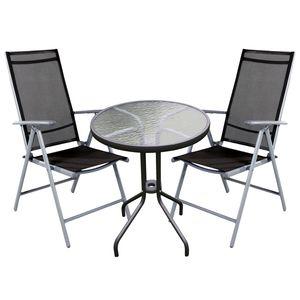 Bistro Sitzgarnitur Bistrogarnitur 3-teilig Silber/Anthrazit