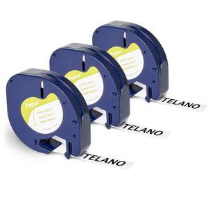 Telano® 3x kompatibles Dymo Papieretikett 91200 für Dymo LetraTag Etikettendrucker - Schwarz auf Weiß - 12 mm x 4 m - S0721510 Etikettierband