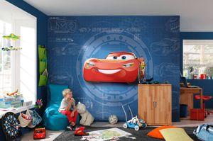 """Komar Fototapete """"Cars3 Blueprint"""", blau/rot, Autos, Konstruktionspläne, 368 x 254 cm"""