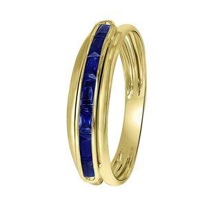 Ring, 585 Gelbgold, Schiene mit Saphir