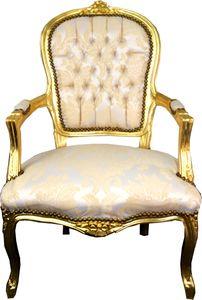 Casa Padrino Barock Salon Stuhl Creme Muster / Gold - Antik Look Möbel
