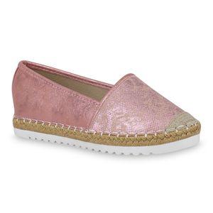 Mytrendshoe Damen Espadrilles Metallic Slipper Bast Profilsohle Flats Schuhe 814633, Farbe: Pink, Größe: 39