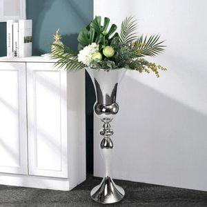 Antique Blumenvase Bodenvase Vase Metallvase 74 cm Nachbildung (silber)