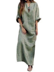 Frauen gestreift Langarm Maxikleid Boho Kaftan Kleider Casual Loose Pocket Long Dress,Farbe: Grün,Größe:5XL