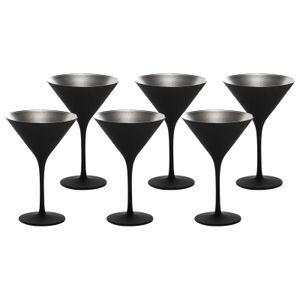 Stölzle Lausitz Cocktailschale Elements 240ml I Martini Gläser 6er Set I schwarz-Silber I Cocktailgläser spülmaschinenfest & bruchsicher I hochwertiges Kristallglas I Martinigläser