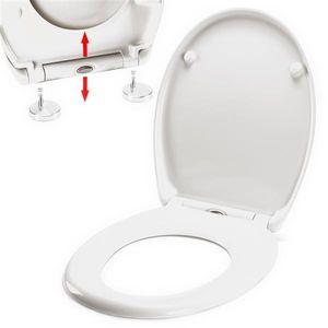 spirella WC Sitz Toilettendeckel Duroplast mit Absenkautomatik und auf Knopfdruck abnehmbar zur Reinigung in Weiß – Easy Fix Clip System