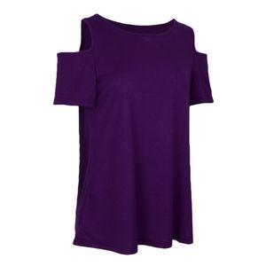 1 Stück kalte Schulter T-Shirts Lila XL Hemden Solide