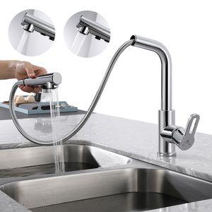 Wasserhahn Küche Ausziehbar Küchenarmatur mit Brause Spültischarmatur mit herausziehbarer Dual-Spülbrause Mischbatterial Küche
